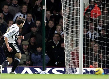 Michael Owen scores his third and Newcastle's fourth late on