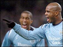 David Sommeil celebrates putting Manchester City ahead