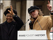 Nelson Mandela and Bob Geldof campaign to Make Poverty History