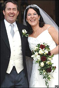 Dr Liam Fox MP and Dr Jesme Baird after their wedding ceremony