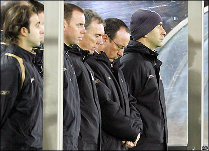 Rafael Benitez and his Liverpool staff pause to reflect