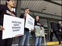 Protesters outside Unilever AGM (Pic: David San Millan/ ActionAid UK)