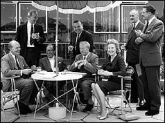 L-R: David Nixon, Graeme Muir, Arthur Askey, Eric Robinson, Richard Hearne, Elizabeth Larne, Eric Maschwitz and Leslie Mitchell