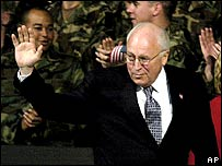 Vice-President Dick Cheney waves to troops during a rally on 6 December in New York