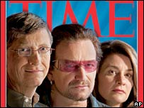 (From left to right): Bill Gates, Bono and Melinda Gates on the cover of Time's latest issue
