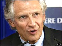 French interior minister Dominique de Villepin