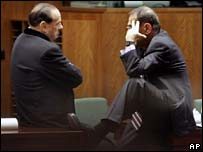 Italian Prime Minister Silvio Berlusconi, left, and EU foreign policy chief Javier Solana