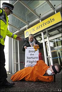 Protesters at Edinburgh Airport