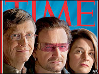 Bill Gates, Bono and Melinda Gates in Time magazine