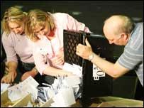 People emptying a ballot box