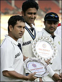 Sachin Tendulkar (35th Test century) and Anil Kumble (100th Test appearance) were recognised before the start of play