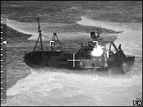 Crew members are rescued by the RAF