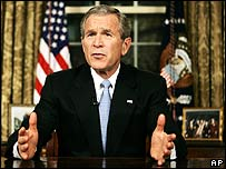 George W Bush addresses the nation