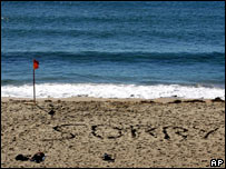 "The word ""Sorry"" is written with seaweed on Sydney's Cronulla Beach"