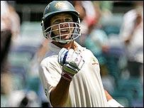 Brad Hodge celebrates his maiden Test century