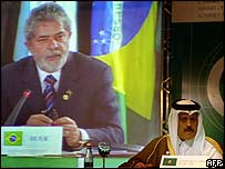 Abdul Rahman Bin Hamad Al-Atiyah of the Gulf Cooperation Council listens as the Brazilian president speaks