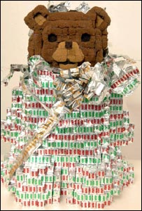 Teddy bear made from Oxo cubes and wrapping