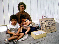 A family begging on the street in Argentina