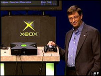 Bill Gates with Microsoft's Xbox