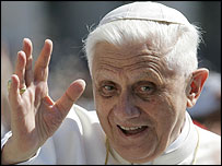 Pope Benedict XVI greets the crowds in St Peter's Square
