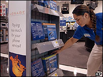 Shop display of Vonage products