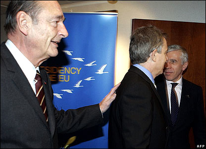 Jacques Chirac (left), Tony Blair and Jack Straw