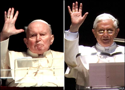 Pope John Paul II (left) and Pope Benedict XVI