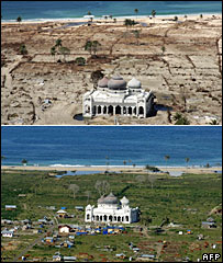 Mosque near Banda Aceh, 16 January 2005 (top) and 03 December 2005