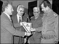 George Galloway meeting Saddam Hussein in 1994