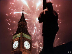 Fireworks explode behind Big Ben, London