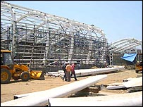 Construction at Mumbai airport domestic terminal