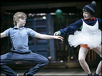 Liam Mower and Ryan Longbottom in Billy Elliot (photo by David Scheinmann)