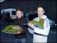 Swansea City fans with souvenirs from the Vetch Field