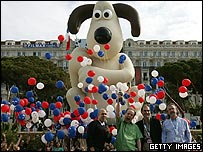 Jeffrey Katzenberg of Dreamworks, director Nick Park, owners and founders of Aardman Dave Sproxton and Peter Lord  with inflatable Gromit