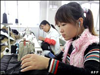 Chinese textile worker in factory.  Image: AFP/Getty