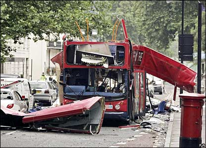 The number 30 bus blown up in Tavistock Square, London, on 7 July