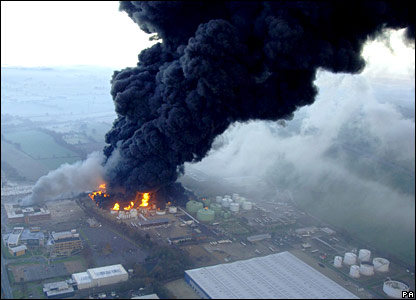 A huge plume of black smoke comes from the Buncefield oil dept in Hertfordshire after an explosion