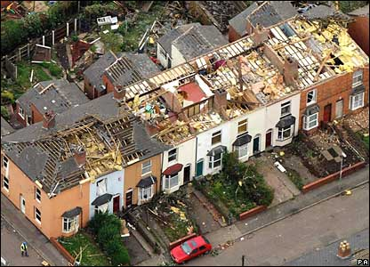 Houses damaged by a tornado in Birmingham