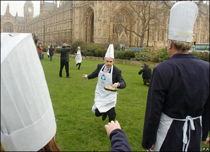 The Lords takes on the Commons in the annual parliamentary pancake race