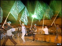 Hamas supporters during a night-time rally