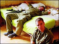 Israeli soldiers relax in a scene from the film Private (Courtesy photo)