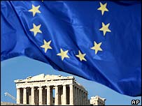 EU flag at Parthenon temple
