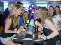 Women drinking in a bar