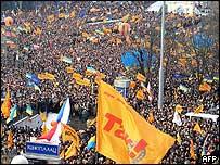 Crowds in Independence Square, Kiev, Ukraine