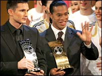 Runner-up Frank Lampard (left) and winner Ronaldinho