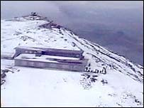 Aerial view in winter of the old-look caf� on Snowdon