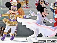 Disney characters Mickey and Minnie Mouse