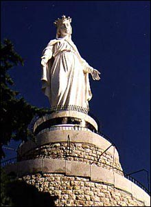 The Lady of Lebanon statue in Harissa, Lebanon