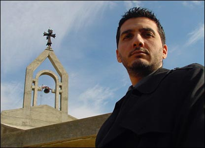 BBC News website reader Joseph Eid outside St Elias Church in Lebanon's Chouf region