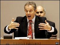 Tony Blair facing members of the European Parliament